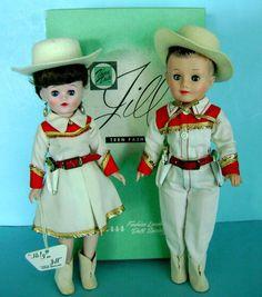 Vintage MIB Vogue Ginny Family Jill & Jeff Cowboy Doll Pr in Orig Clothes w/ Gun