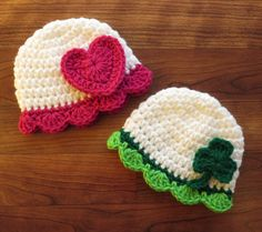 Crocheted Baby Girl Holiday Hat Set ~ Valentine's Day & St. Patrick's Day Hat Set ~ Heart and Shamrock ~ Newborn to 5T ~ MADE to ORDER by KaraAndMollysKids on Etsy