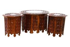 Indonesian-Style Teak Tables,  S/3