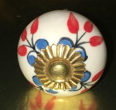 Vintage inspired hand painted floral ceramic knob K-108 by FredBSandalShop on Etsy https://www.etsy.com/listing/279977698/vintage-inspired-hand-painted-floral