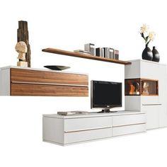 Gut Elegante+Wohnkombination+in+Lack+Weiß+und+Absetzungen+in+