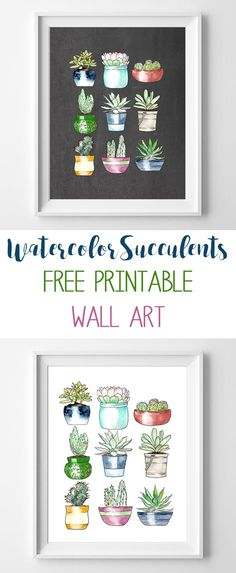 succulents wall art printable poster add some green on your walls