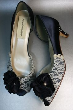Wedding Shoes -- Navy Blue Peeptoes with Ivory Lace Overlay, Navy Flowers and Ivory Pearls on Heel via Etsy