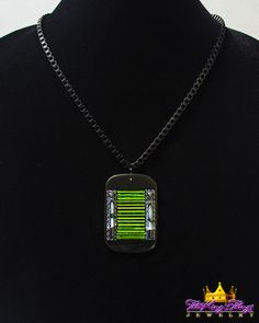 8-8. Emerald Green Tubes with Black Glass Bars Statement Necklace Our new runway jewelry on ETSY: https://www.etsy.com/shop/TheKingsThings