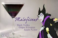 Cocktails by Cody - Maleficent. Layer in this order: grape schnapps, apple schnapps, black vodka Disney Cocktails, Cocktail Disney, Disney Themed Drinks, Halloween Cocktails, Disney Mixed Drinks, Disney Alcoholic Drinks, Halloween Meals, Halloween Party, Party Drinks