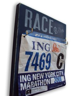 Show off your race bibs with this fun hanger from Etsy seller RunningOnTheWall!