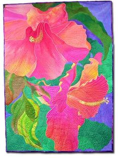 hibiscus... LOVE this.  Beautiful colors and quilting lines.