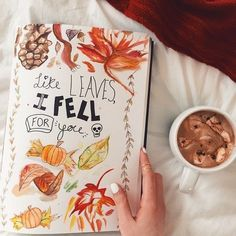 (autumn leaves flatlay)