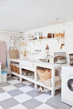 Wicker baskets full of toilet paper & paper towel
