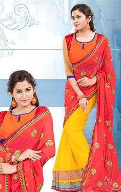Picture of Melodic Pink and Yellow Color Georgette Saree
