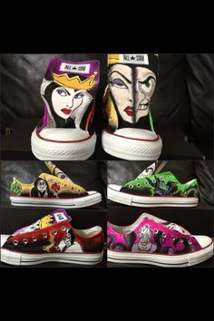 Items similar to Disney Villains! Custom Adult Chucks/Converse- Design YOUR shoes today! on Etsy Disney Converse, Cool Converse, Converse Sneaker, Disney Shoes, Converse Shoes, Painted Converse, Custom Converse, Sneakers, Disney Outfits