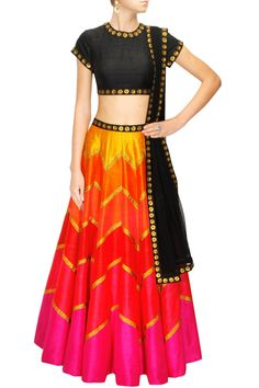 This lehenga is in multicolour panelled raw silk with sequin gotta. Blouse of this lehenga set is in black colour with sequin work. Dupatta of this multicolour