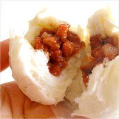 Char Siew Bao (Chinese Roast Pork Bun/叉烧包) use the filling recipe from here.  sub vegetarian pork belly for char siu.  sub hoisen for oyster sauce