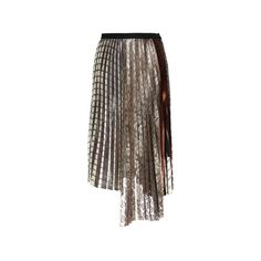 Antonio Marras     Pleated Asymmetrical Skirt ($1,950) ❤ liked on Polyvore featuring skirts, alexis mabille, floral knee length skirt, floral skirt, brown a line skirt and knee length a line skirt