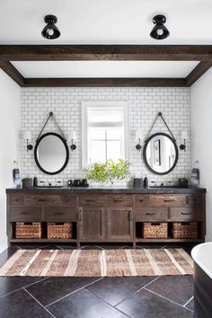 Eclectic modern farmhouse with unexpected pops of color in New York Crisp Architects along with Change & Co. designed this eclectic modern farmhouse as a weekend retreat for a young family in upstate New York. Bathroom Interior, Modern Bathroom, Master Bathroom, Rustic Bathrooms, Bathroom Mirrors, Rental Bathroom, Rustic Bathroom Vanities, Rustic Bathroom Decor, Bathroom Small