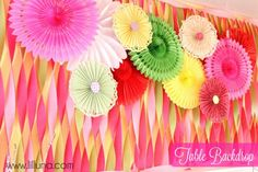 cute party with all tutorials:  Crepe paper streamers, fans, twig decorations etc...Lil Luna