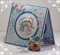 handmade Xmas Card using Wild Rose Studio new releases Dies - Snowflake Corner Image - Girl with Snowman Papers - Frosted Lace Downrightcrafty