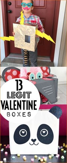 Valentine Boxes You Can't Resist. Top Valentine boxes for boys and girls. Make at home boxes the kids will love. Creative ways to collect Valentines. Character boxes, animal boxes and super hero awesomeness!