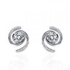 Circle Shape Diamond Earrings on 18K White Gold
