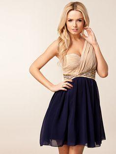 Two Color One Shoulder Dress
