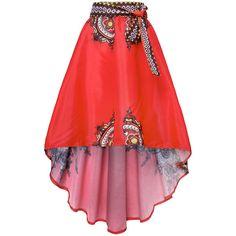 Women Vintage Floral Print Irregular High Waist Skirt ($20) ❤ liked on Polyvore featuring skirts, red, women bottoms skirts, red print skirt, floral printed skirt, floral skirt, floor length skirts and flower print skirt