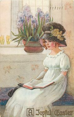 A JOYFUL EASTER  girl in Easter bonnet sits with book on lap below large bowl of blue hyacinths - Art by C.M. Burd