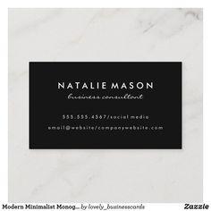 Modern Minimalist Monogram on Black Business Card