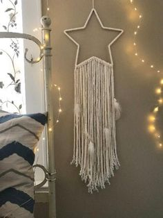 New starlight dreamcatcher is the perfect addition to a beautiful nights sleep. Great for boho style bedroom or nursery decor. Custom colors available. Check out more details and give the gift of sweet dreams :) Star Decorations, Christmas Decorations, Halloween Decorations, Diy Halloween, Décor Boho, Boho Style, Gifts For New Parents, Macrame Design, Macrame Patterns