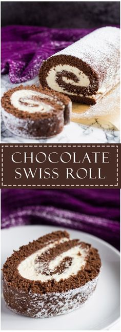 Chocolate Swiss Roll - Deliciously moist and fluffy cake filled with a thick layer of vanilla whipped cream and dusted with icing sugar! A perfect dessert for any occasion! Cake Roll Recipes, Cupcake Recipes, Baking Recipes, Cupcake Cakes, Dessert Recipes, Muffin Cupcake, Köstliche Desserts, Chocolate Desserts, Delicious Desserts