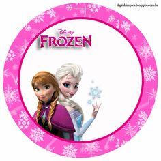 """Convites Digitais Simples: Kit de Aniversário """"Frozen-Disney"""" Pink para Imprimir"""