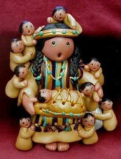 """Southwest American Indian Storytellers or """"Singing Mothers"""" figures. Native American Indians did not write down their history; they passed down their legends through  """"storyteller dolls"""""""