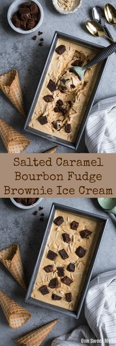 This Salted Caramel Bourbon Fudge Brownie Ice Cream is the perfect balance of sweet with a hint of salt. The addition of fudge brownie pieces and toasted almonds take this ice cream over the top. Ice Cream Desserts, Frozen Desserts, Ice Cream Recipes, Frozen Treats, Brownie Ice Cream, Ice Cream Cookie Sandwich, Cream Cookies, Ice Cream Base, Cream Cream
