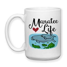 Manatee Life, Sea Cow, Manatee Mug, Manatee Gift, Manatee Art, Manatee Mom and Baby, I Love Manatees, 15 oz Coffee Mug