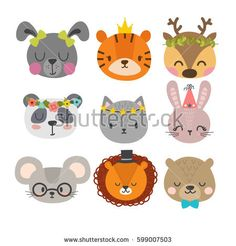 Cute animals with funny accessories. Set of hand drawn smiling characters. Cat, lion, panda, bunny, dog, tiger, deer, mouse and bear. Cartoon zoo. Vector illustration