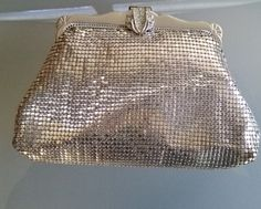 Whiting & Davis Gold Mesh Bag, Vintage Purse Handbag, Small Clutch Purse, Rhinestone Snap Clasp, Formal Wear, Glamorous, Near Mint Condition by VintageCoolETC on Etsy