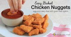 Easy Baked Chicken Nuggets taste like you spent a TON of time in the kitchen. But they come together in a flash. Grain & Egg Free and they freeze well too!