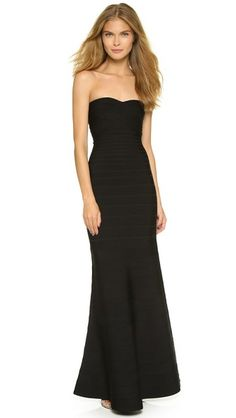 Herve Leger Strapless Gown | SHOPBOP