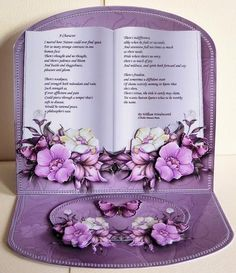 Flowers Pearls Poem Easel Book Kit on Craftsuprint designed by Jean King - made by Karen Nash - i decoupaged the images with 3d foam then cut folded and assembled elements as required to make this lovely card. - Now available for download!