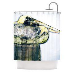 "Kess InHouse Josh Serafin ""Oldtimer"" White Bird Shower Curtain"