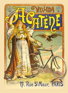 Antique French bicycle poster.