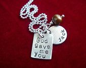 Mommy Necklace with Kids Name Hand Stamped Sterling Silver Disc. $22.00, via Etsy.