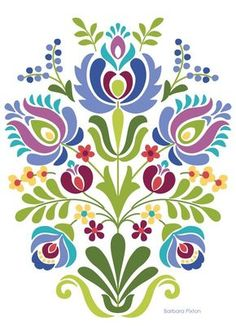 computer Folk Embroidery Patterns Hungarian Folk Art Blue and Purple Flowers - Hungarian Folk Art Print This is an image created in Adobe Illustrator and inspired by the beautiful folk desig Hungarian Embroidery, Folk Embroidery, Learn Embroidery, Embroidery Patterns, Indian Embroidery, Embroidery Online, Embroidery Tattoo, Folk Art Flowers, Flower Art