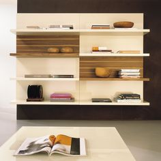 Furniture, Inspiration Design Wall Mounted Shelving Units: Amazing White And Wooden Contemporary TV Unit And Storage Ideas In London