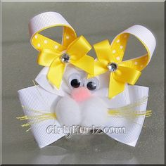 Yellow Bunny Hair Bow Easter Hair Bow Bunny Hair Clip Rabbit Hair Bow. $7.50, via Etsy.