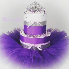 2 Tier Purple and Silver Mini DIAPER CAKE w/ tiara  tutu