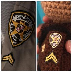 Left is inspiration & Right is Recreation. How did I do  : : : : : #cricut #badge #ironpatch #amigurumi #dollmaker #crochetaddict #mini #inspriration #blackgirlmagic #fiberartist #naturalbeauty #madewithlove #etsyseller #sheriff #deputysheriff #womaninuniform #protectandserve #handmade #handcrafted