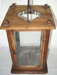 11.5in tall x 6.75in square. A RARE 19th CENTURY BARN CANDLE LANTERN EARLY IRON PICKET VERY PRIMITIVE AAFA NR