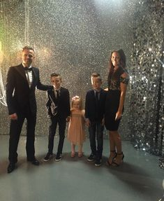 """""""It's a family affair! A great night at with my Gang Rocco Jay and Gia Loved it ! Nicky Byrne, Black Hair Wigs, Family Affair, Great Night, Tv On The Radio, Family Christmas, Wig Hairstyles, Sequin Skirt, Dads"""