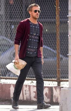 Shop this look on Lookastic:  http://lookastic.com/men/looks/sunglasses-crew-neck-t-shirt-cardigan-jeans-boots/7618  — Tan Sunglasses  — Charcoal Print Crew-neck T-shirt  — Burgundy Cardigan  — Charcoal Jeans  — Charcoal Leather Boots
