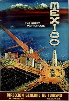1940's Mexico City Vintage Art Deco Travel Poster PRINTED BY: Direccion General de Tourismo. Av. Juarez 89, Mexico, D.F. AGE: c. 1940's ARTIST: A. Resaret, graphic designer, poster artist, illustrator